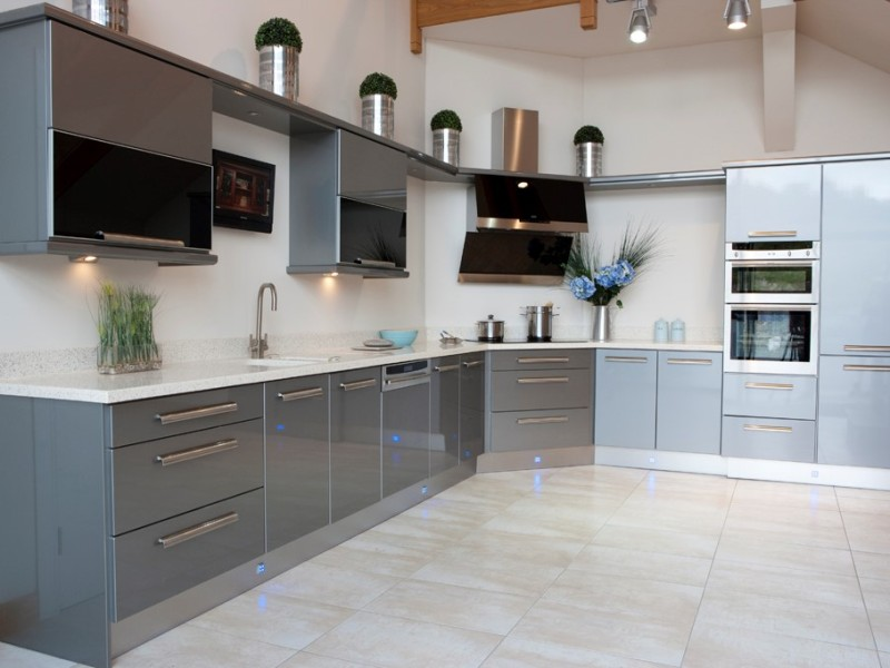 Contemporary Kitchen - Grey high gloss with 40mm Corian worktop. Click for more information about out Contemporary Kitchen range.