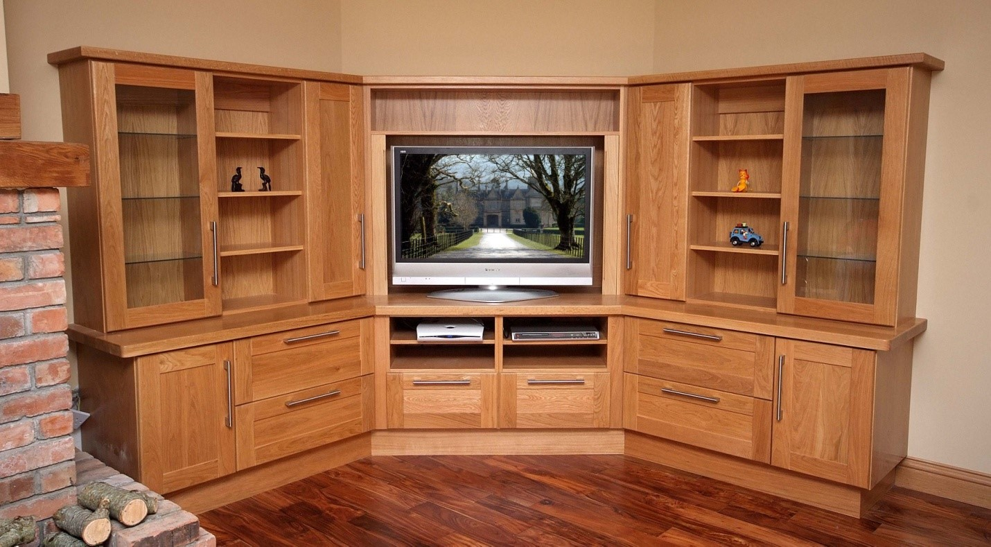 Solid Oak TV unit.